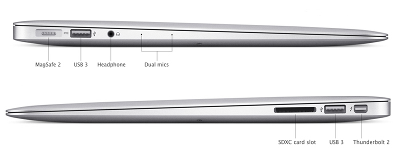 Các cổng kết nối của MacBook Air 2017 MQD32