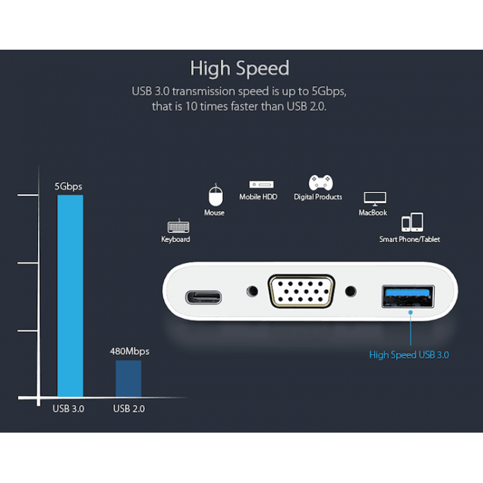 USB C to VGA prolink