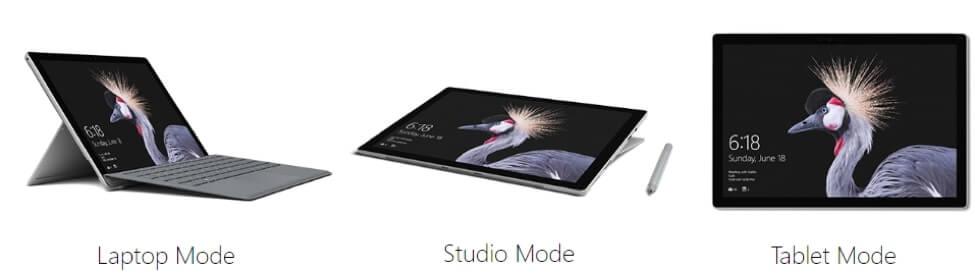 Ba chế độ sử dụng khác nhau của máy tính bảng Surface Pro 5: Laptop, Studio và máy tính bảng