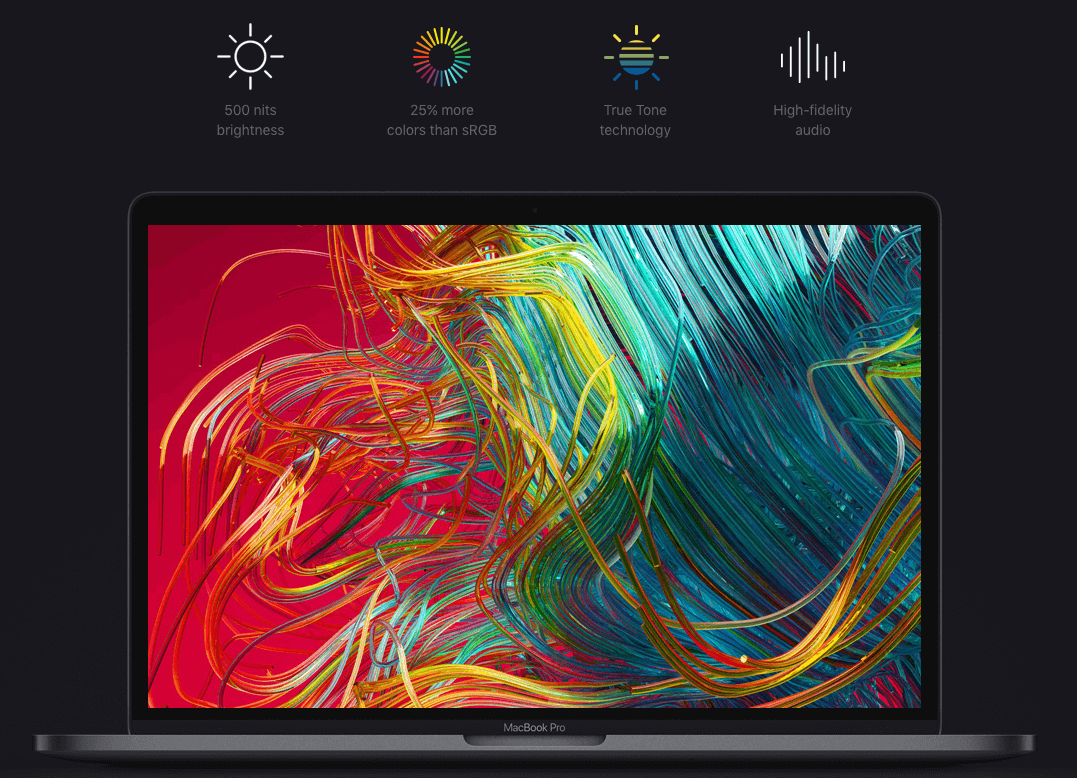 Màn hình Retina True Tone của Macbook Pro có toucbar