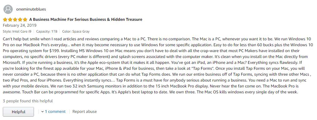 nhung loi nhan xet co canh danh cho macbook pro 2019 MV942