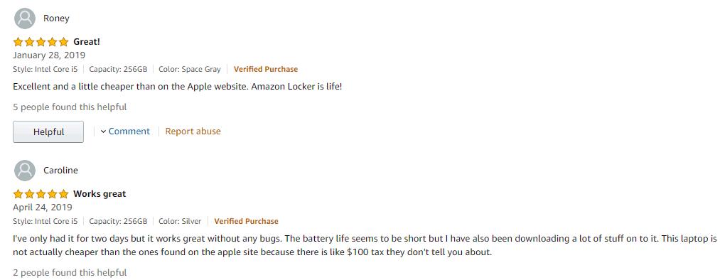 những phản hồi tich cực của khách hàng về macbook pro 2019 MUHP2