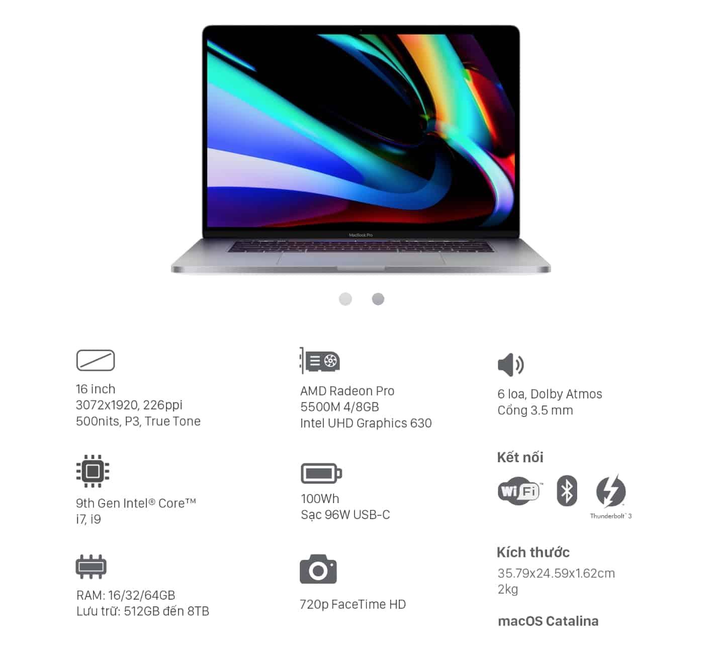 laptopvang - Các tính năng vượt trội trên MacBook Pro 16 inch 2019
