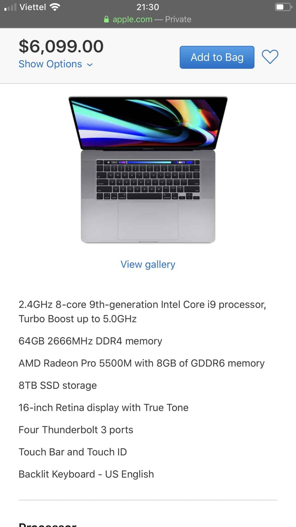 Giá Bán MacBook Pro 16 inch Max Option