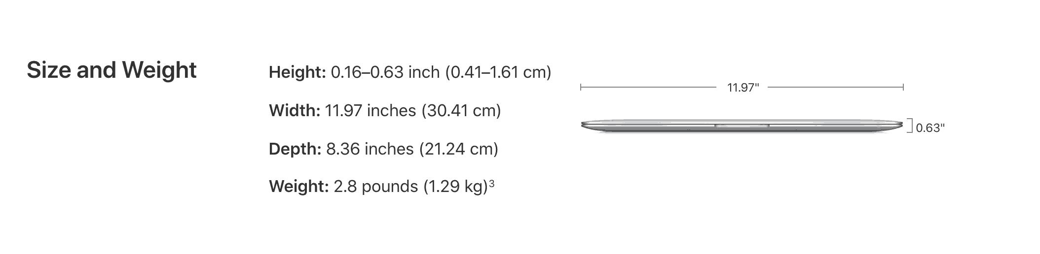 Trọng lượng và cân nặng MacbookAir 2020 - laptopvang.com