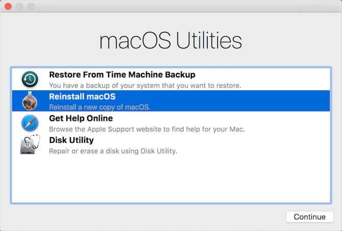 Cài đặt lại Mac OS