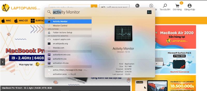Mở Activity Monitor bằng Spotlight