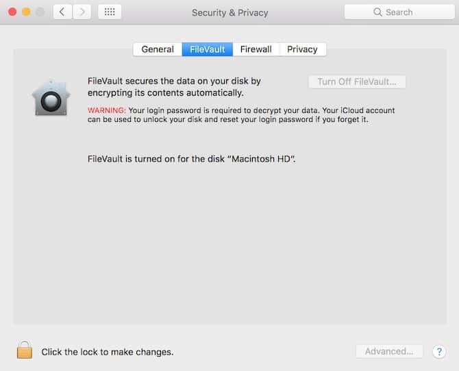 Tắt tính năng FileVault Disk Encryption