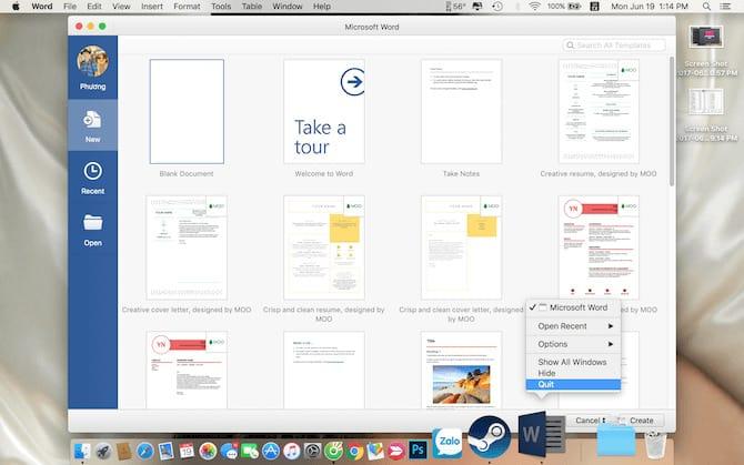 Đóng tất cả các cửa sổ ứng dụng không sử dụng