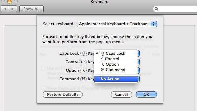 Bước 4: Thay đổi phím trên Macbook