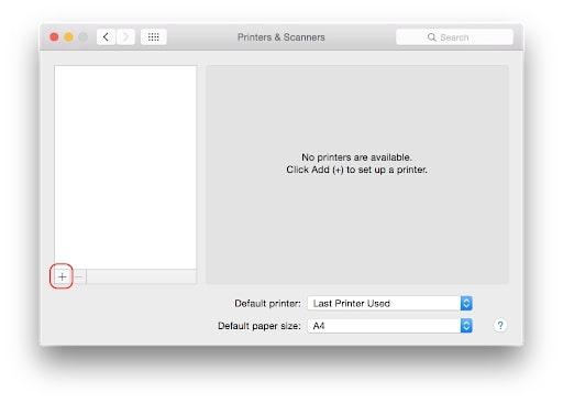Tick chọn dấu + để thêm máy in