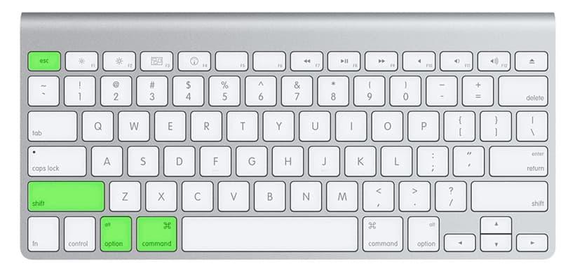 Sử dụng tổ hợp phím command + option + shift + esc để tắt hết ứng dụng