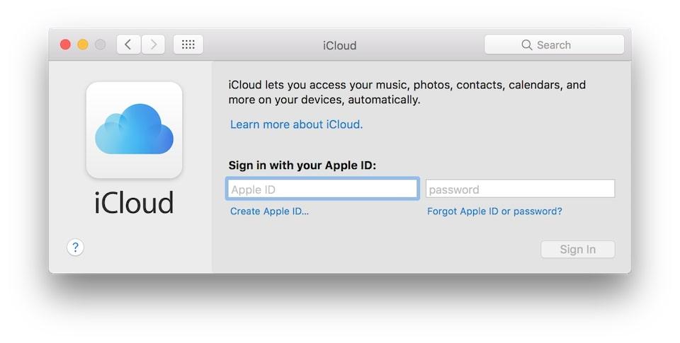 đăng nhập icloud on mac