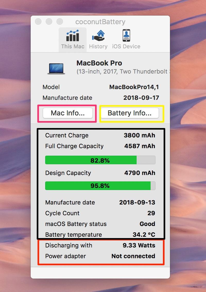 Xem thông tin pin từ Coconut Battery 3