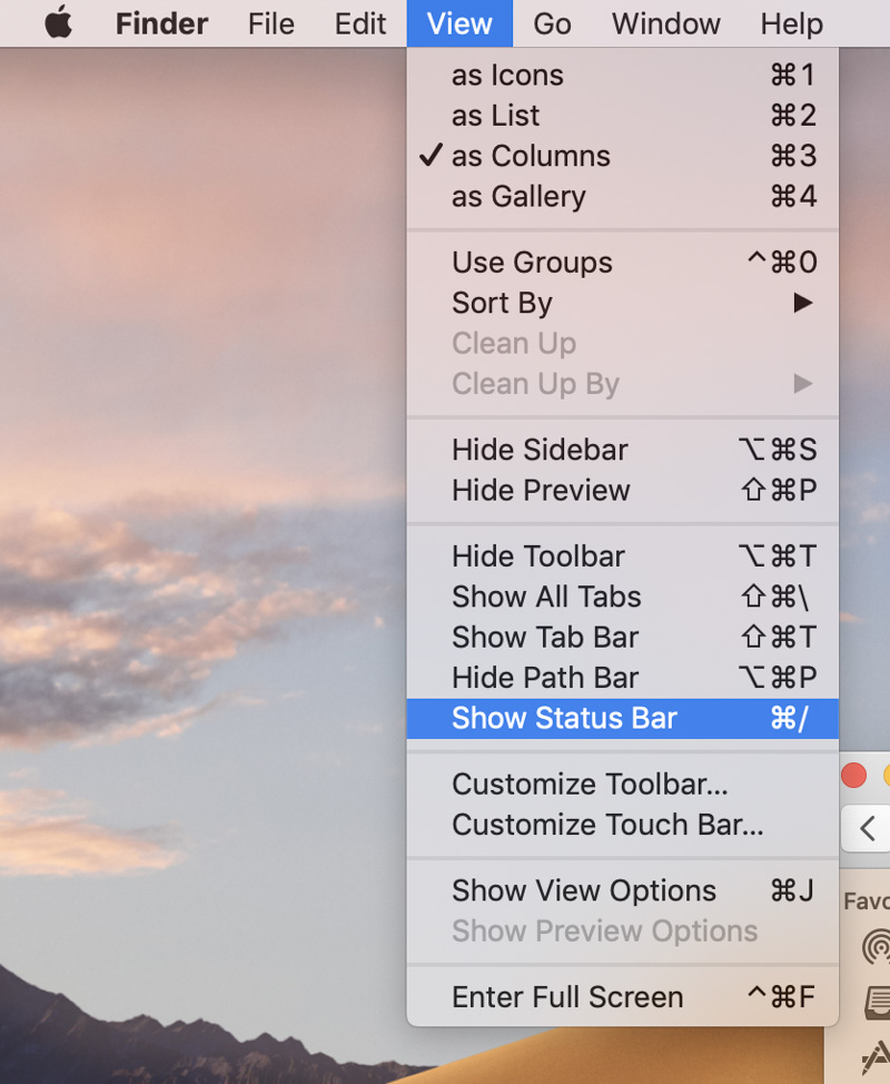 Chọn View -> Show Status Bar option