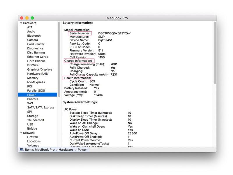 kiểm tra pin mac