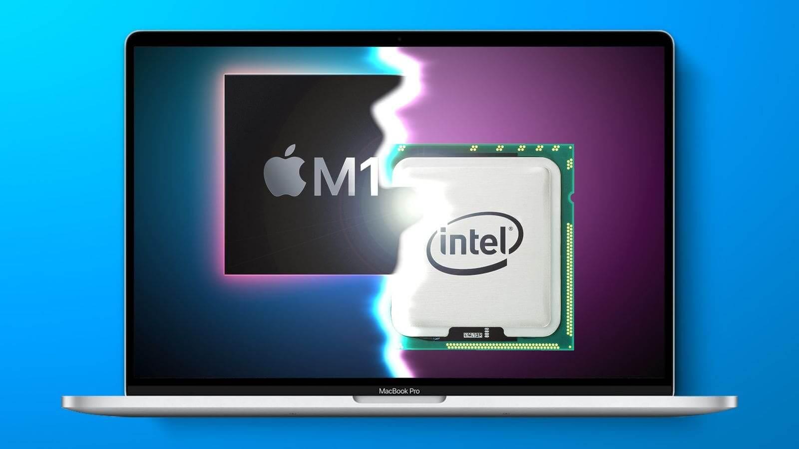 so sánh macbook pro m1 và intel