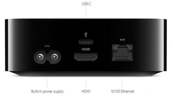 Mặt sau Apple TV Gen 4
