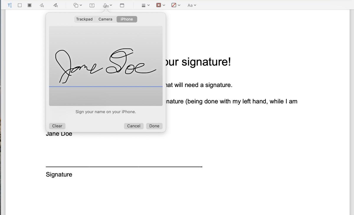 signature for pdf on mac