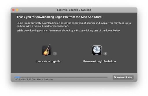 chạy trình cài đặt logic pro