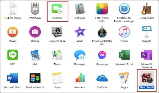 cách mở camera trên macbook