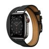 MJ5U3 apple watch 6 hermes Gray Stainless Steel Case with Attelage Double Tour Noir laptopvang