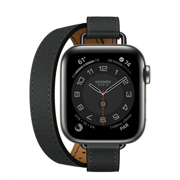 MJ5U3 apple watch 6 hermes Gray Stainless Steel Case with Attelage Double Tour Noir laptopvang 1