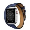 MJ5W3 apple watch 6 hermes Silver Stainless Steel Case with Attelage Double Tour Bleu Saphir laptopvang