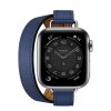 MJ5W3 apple watch 6 hermes Silver Stainless Steel Case with Attelage Double Tour Bleu Saphir laptopvang 1