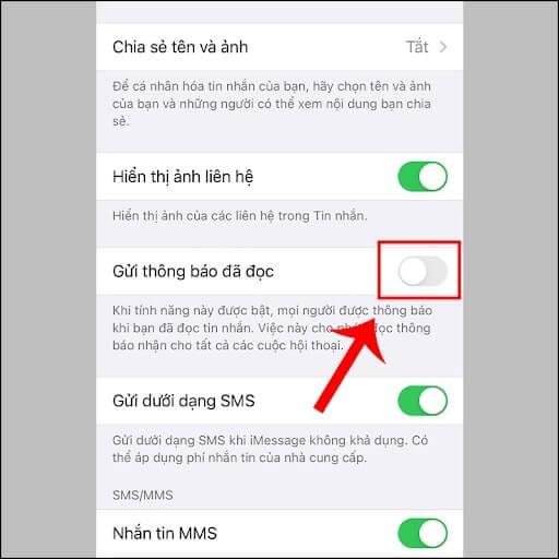 cài đặt tin nhắn iphone