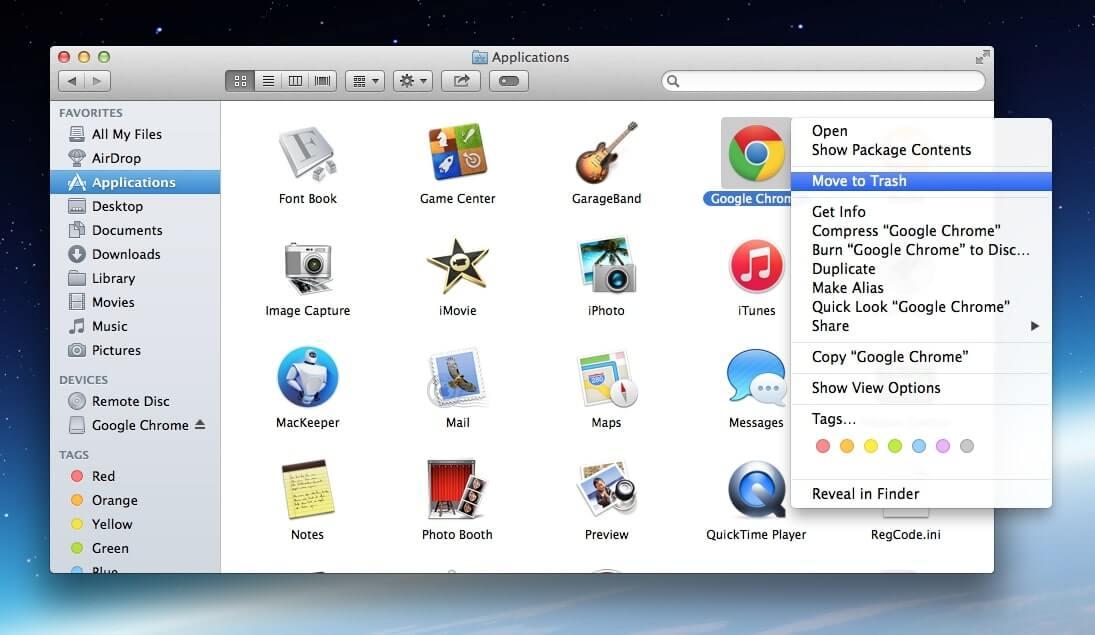 gỡ chrome trên macbook