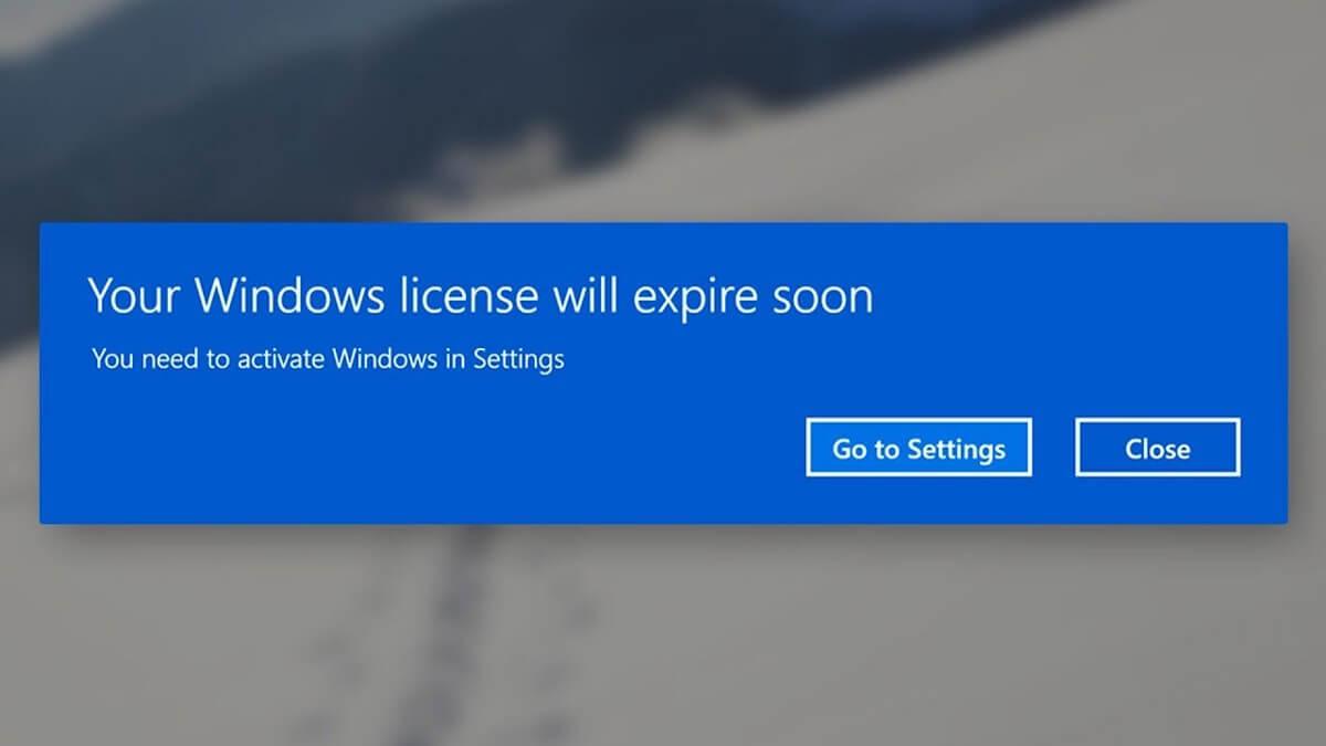 lỗi your windows license will expire soon win 10