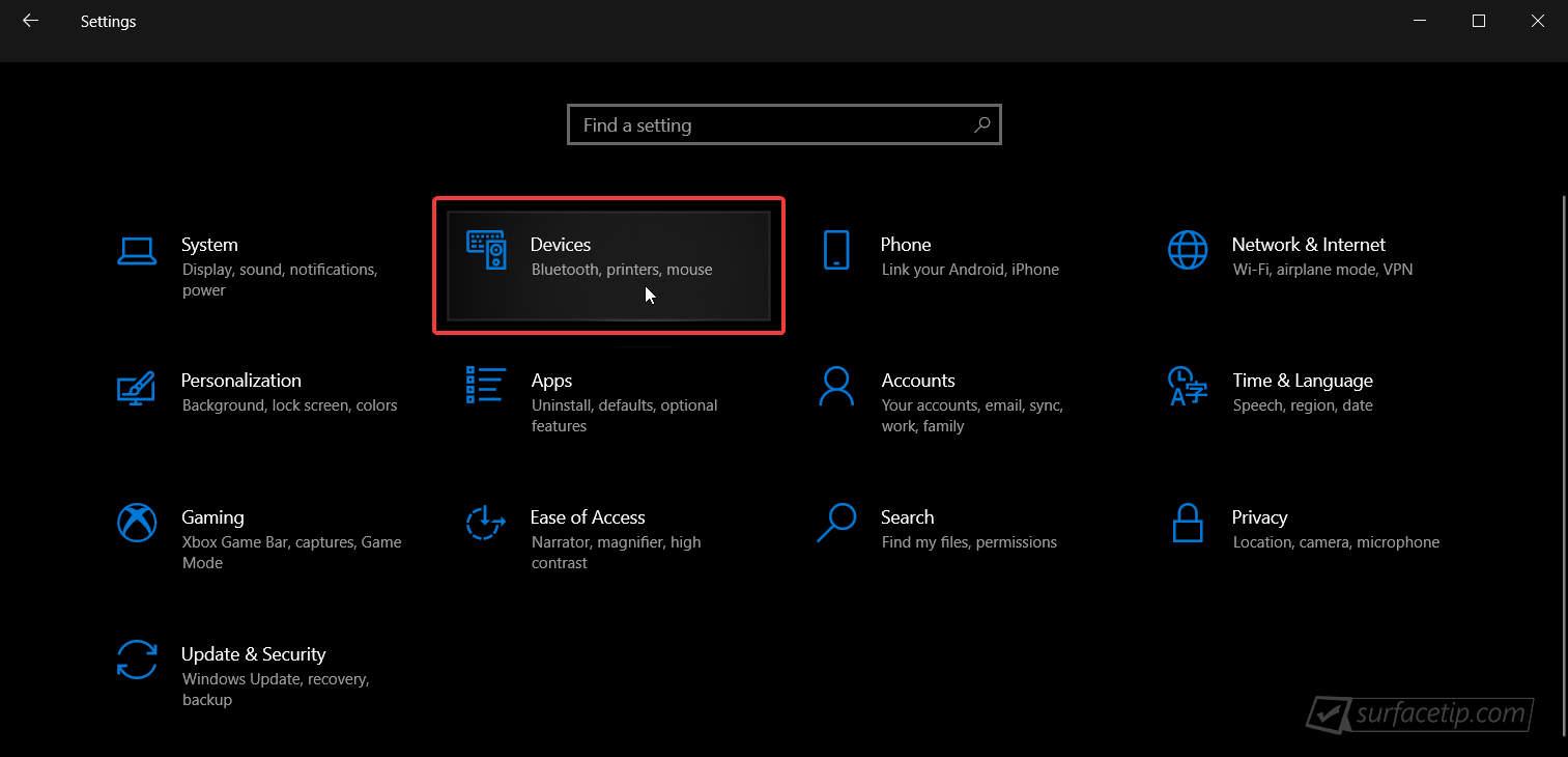 Chọn Devices trong cài đặt Windows