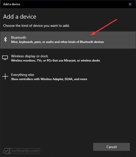 Chọn Bluetooth trong bảng Add a device